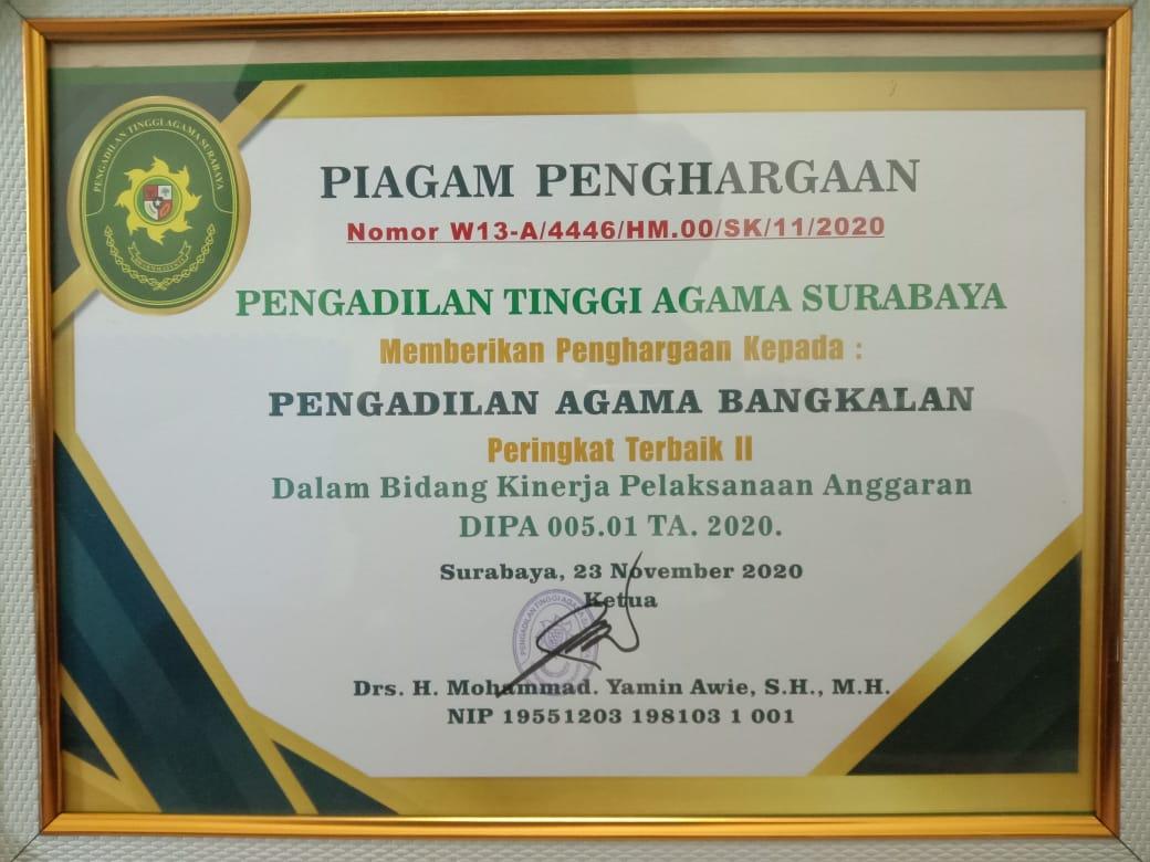 Penghargaan Terbaik II Bidang IKPA TA 2020